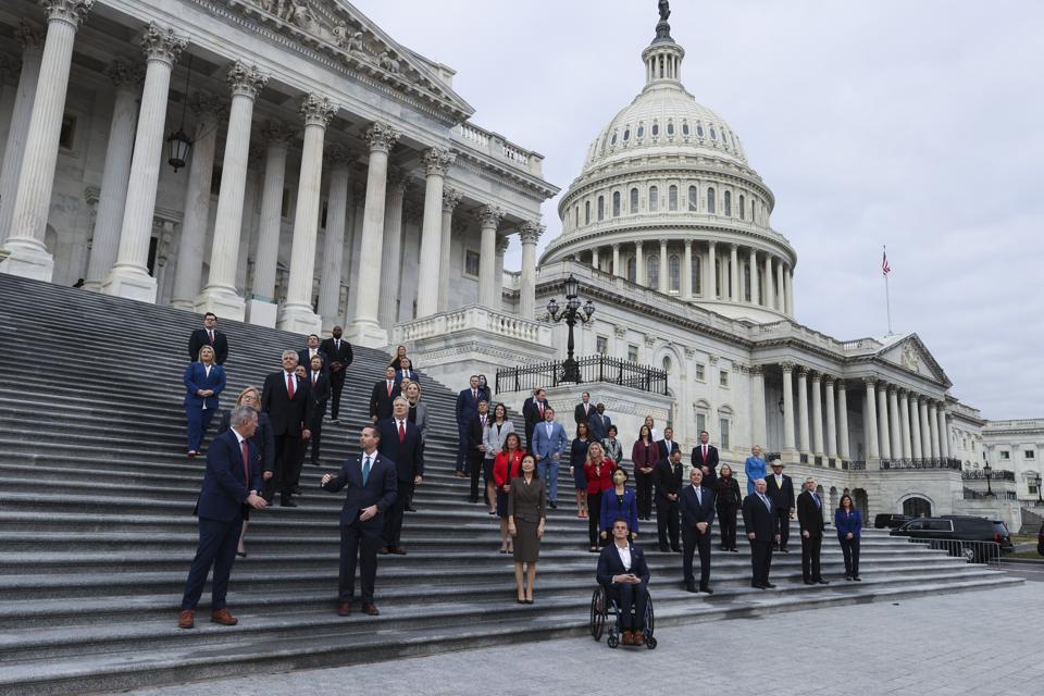 House Freshmen Representatives Meet On Front Steps Of Capitol Building