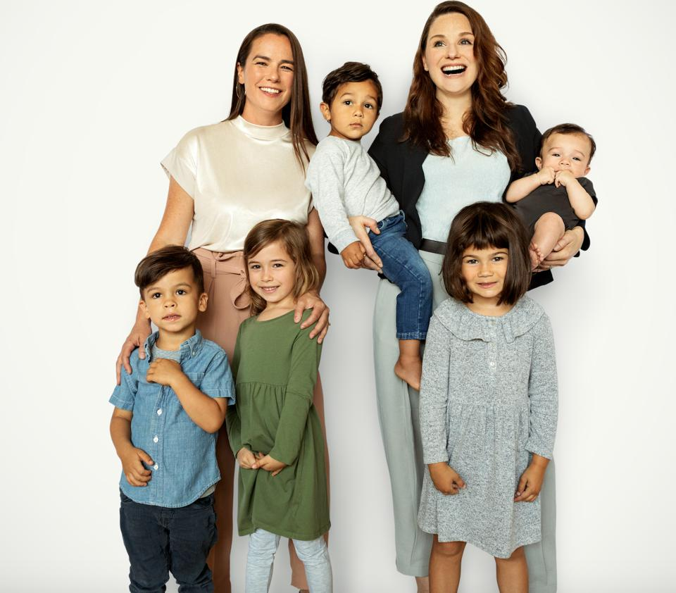 Co-Founders of Bobbie, Sarah Hardy and Laura Modi with their children
