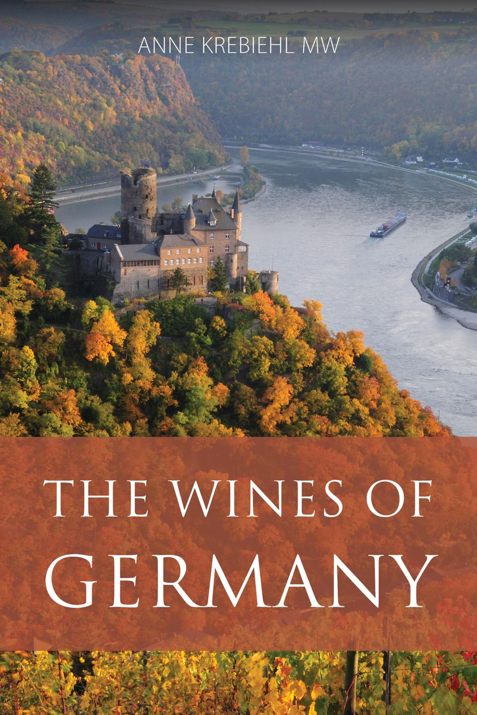 Book jacket with image of castle on river and title The Wines of Germany
