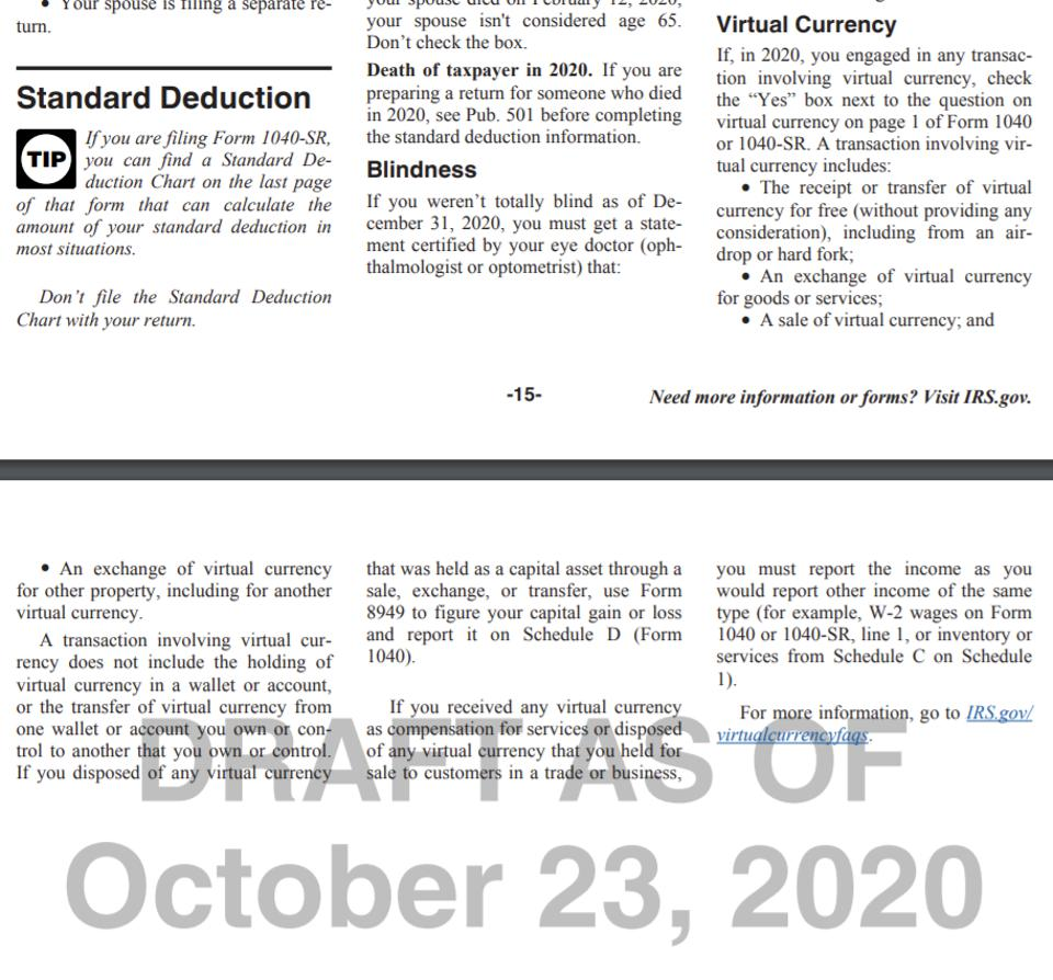 IRS Form 1040 Instructions updated as of October 23, 2020
