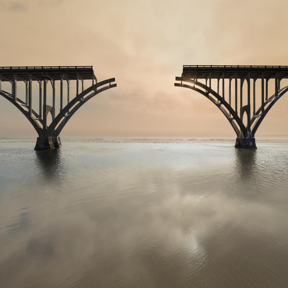 Unconnected bridge above water