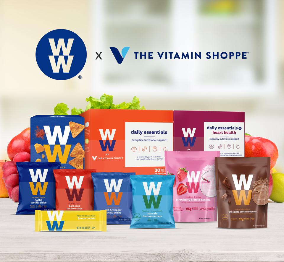 WW X The Vitamin Shoppe products include daily supplement packs, snacks and boosters.
