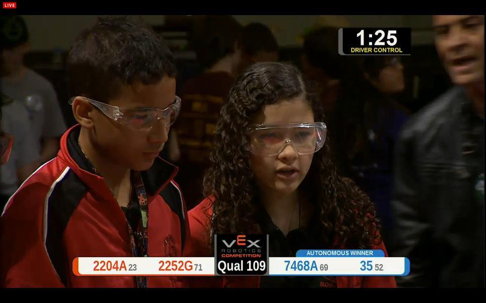 Two students competing in a robotics competition