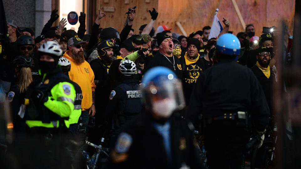 WASHINGTON, D.C., DECEMBER 12: Protected by DC police, Proud Bo