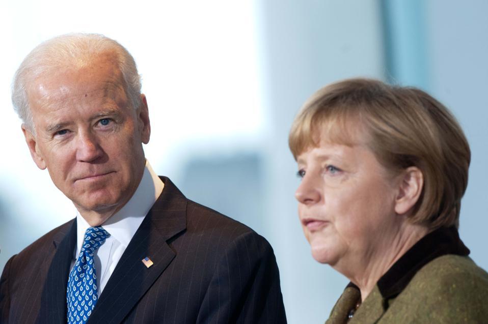 Joe Biden with Chancellor Merkel