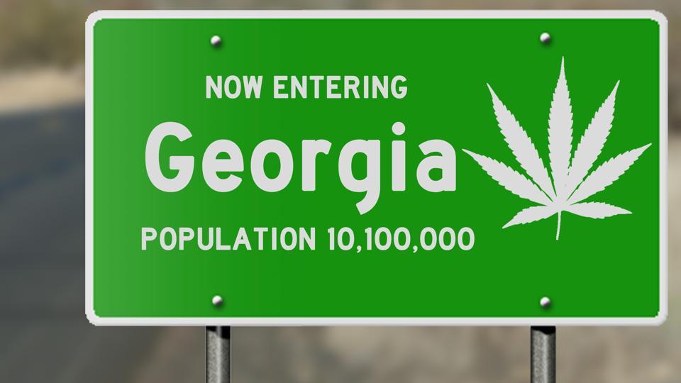 Georgia highway sign with marijuana leaf
