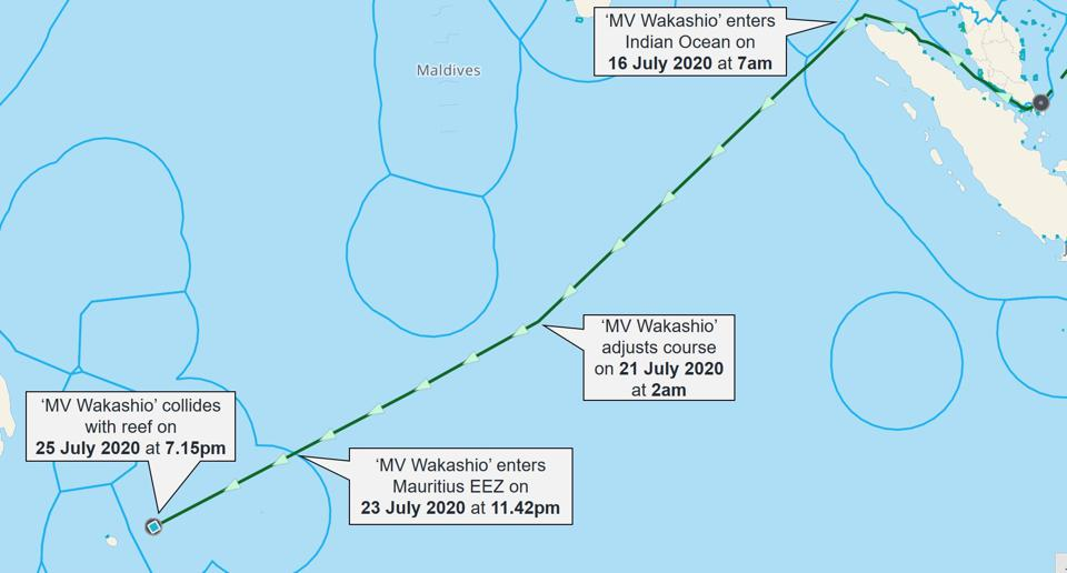 The Wakashio made a 13 degree change in course on 21 July, a day after the BP oil samples arrived in a MOL laboratory