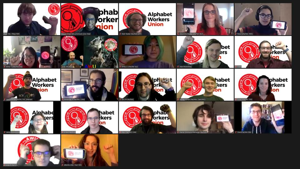 Many small screens connect on a zoom call with the logo of the Alphabet Workers Union