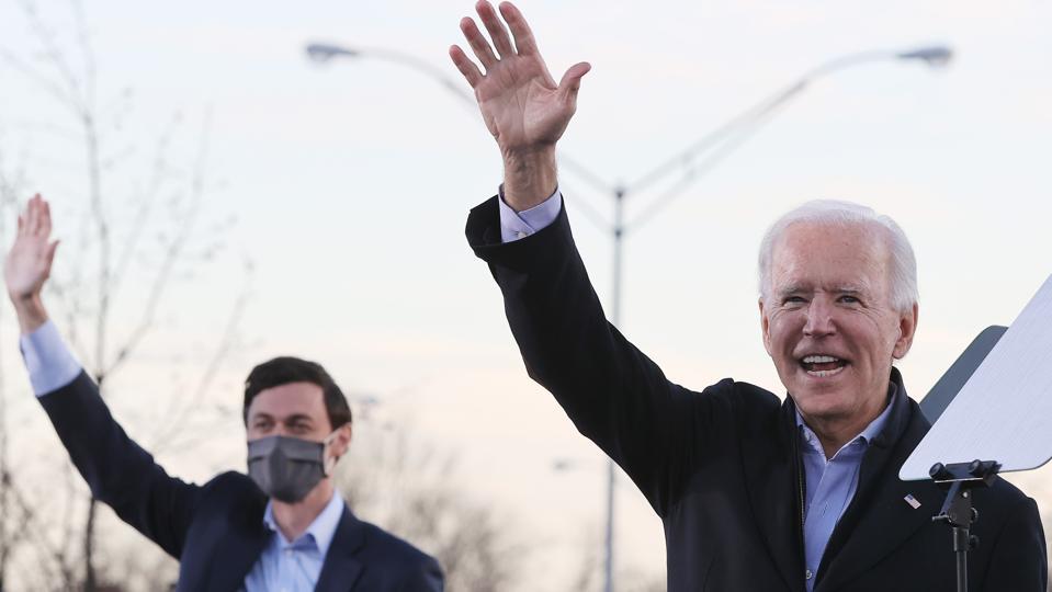 President-Elect Biden Campaigns With Democratic GA Senate Candidates