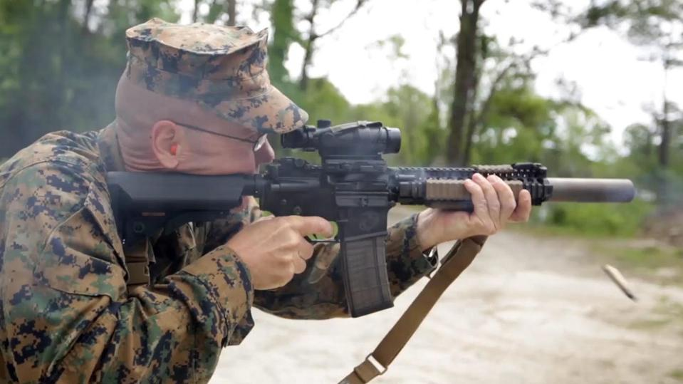 Marine firing weapon with silencer