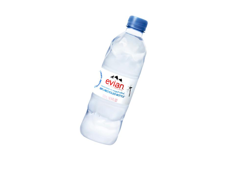 Evian x Virgil Abloh designed a water bottle with a hammered effect.