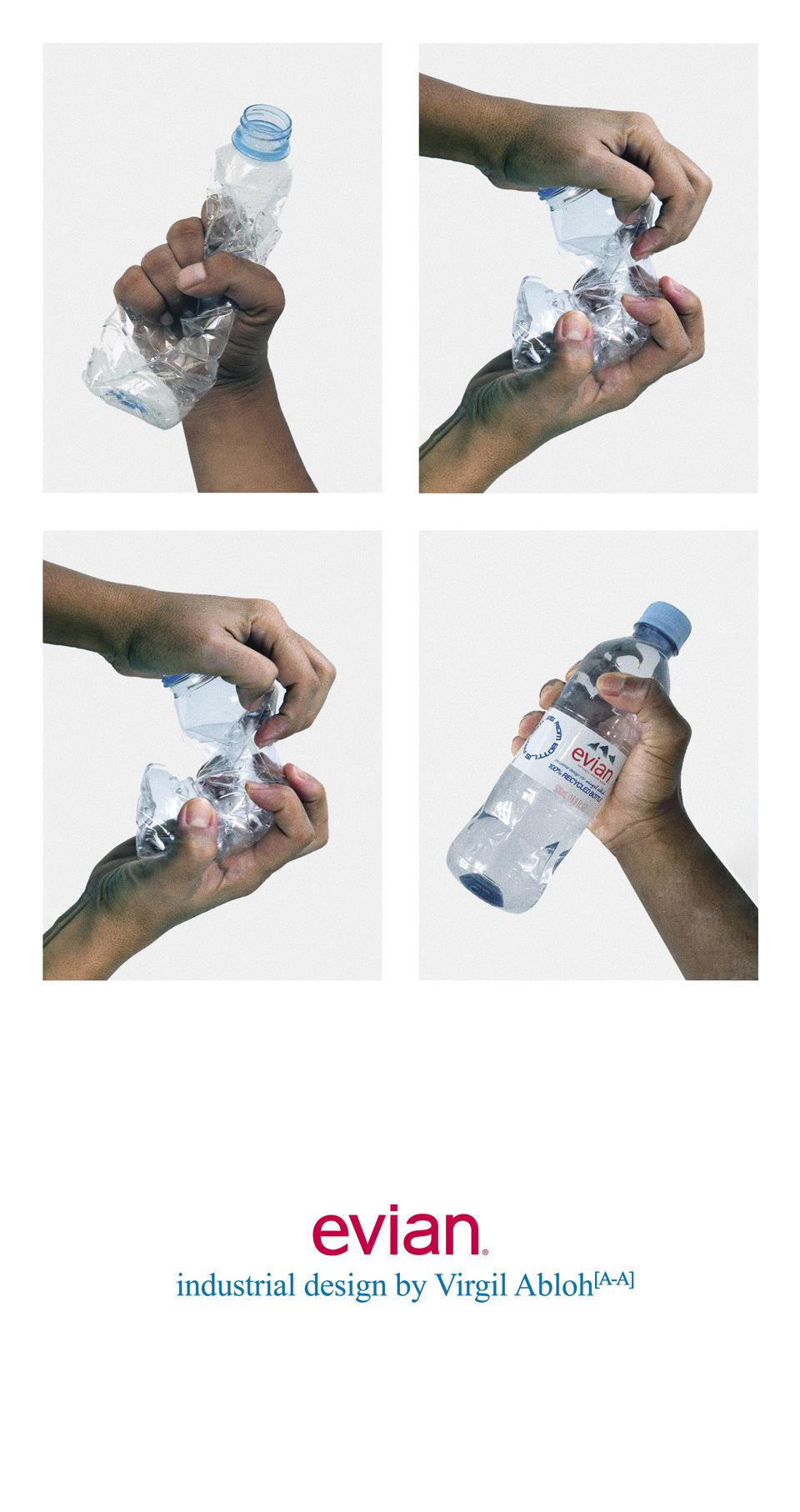 Evian x Virgil Abloh designed a water bottle with a hammered effect.EVIAN