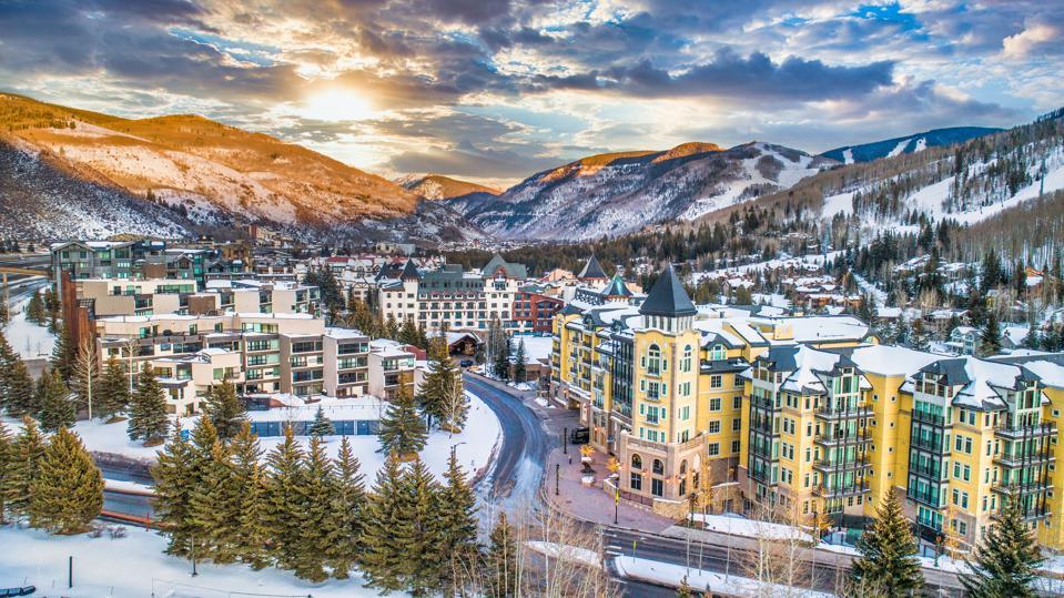 Vail, Colorado, USA Drone Village Skyline Aerial