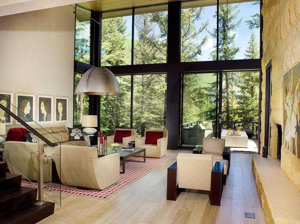 Walls of windows in a Vail mansion.