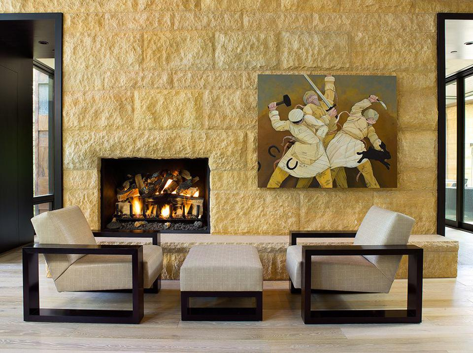 A fireplace in Vail, Colo.