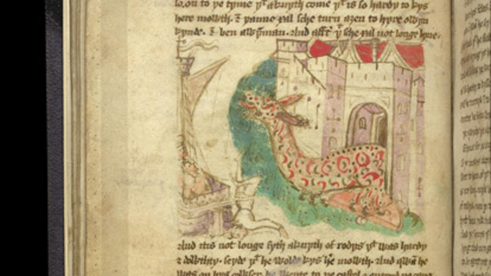 A depiction of Hippocrates' daughter as a dragon in Sir John Mandeville's 'The Travels'