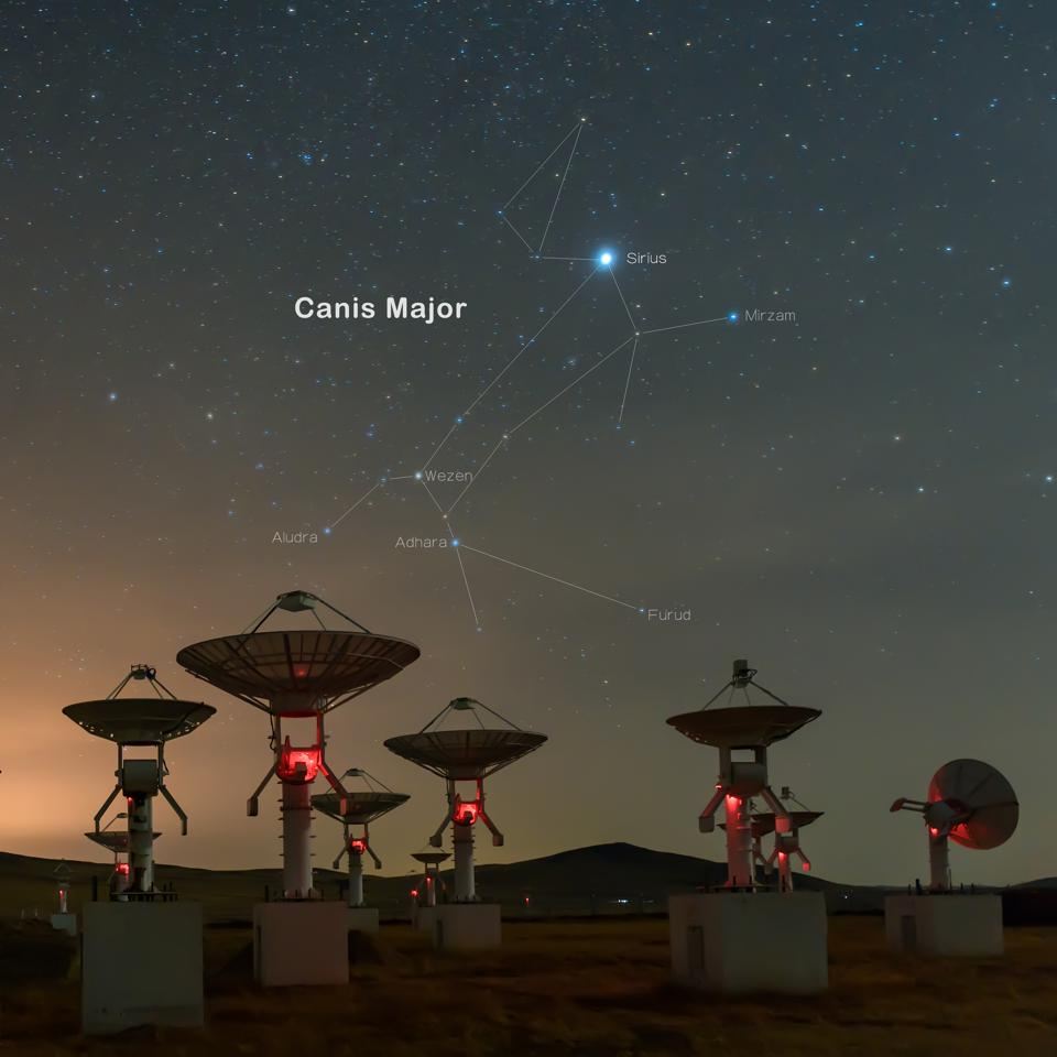 Satellite antenna array under the canis major