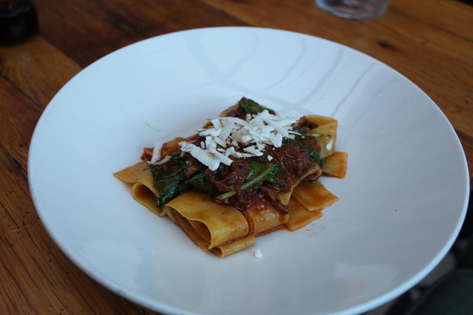 Pappardelle with oxtail ragout, an Italian-style take on a Jamaican classic.