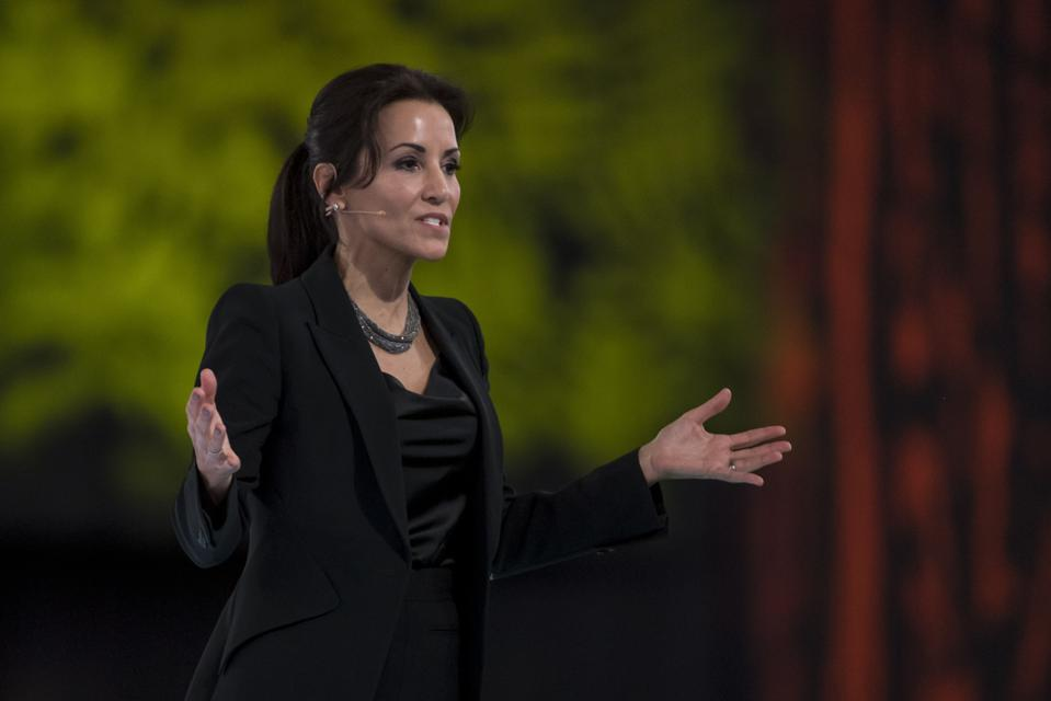 Salesforce CMO Stephanie Buscemi speaks at the 2019 DreamForce conference in California.