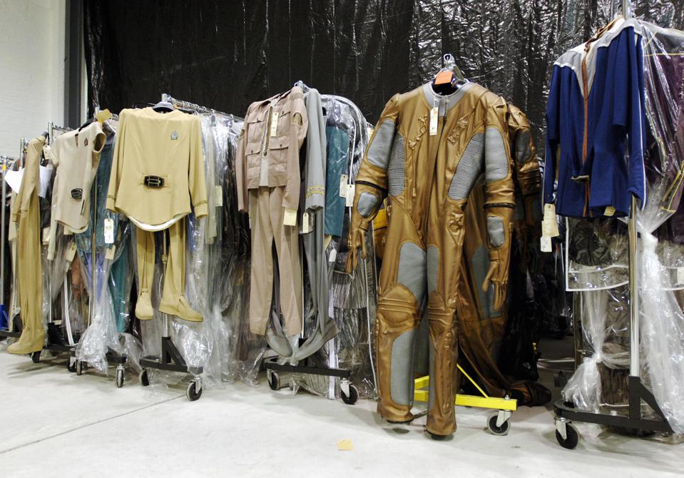 Various uniforms and costumes from Star Trek