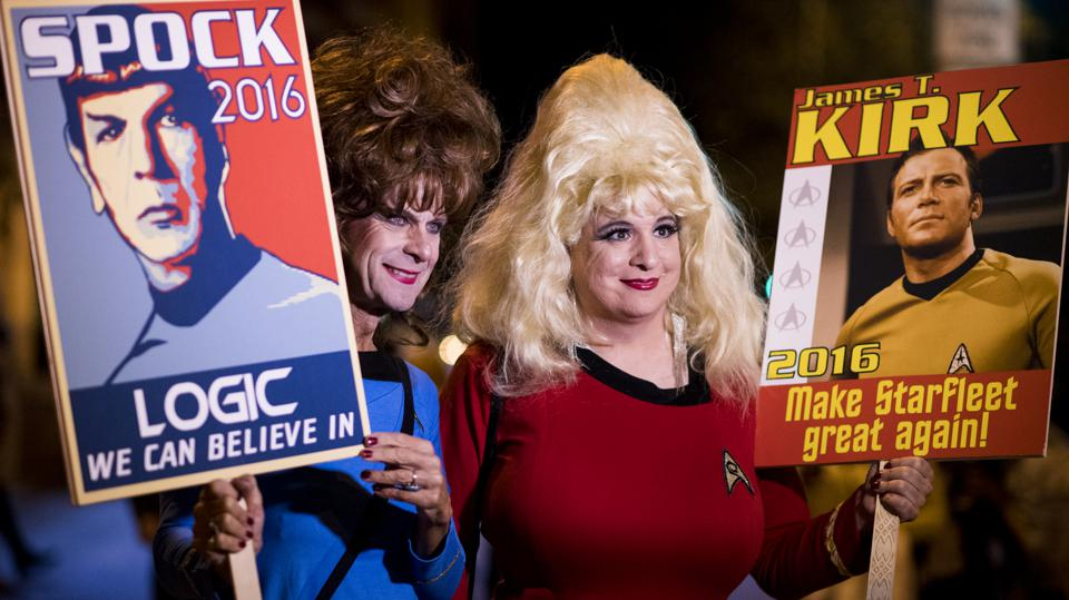 Annual 17th Street High Heel Race. Star Trek characters hold fake election signs for Kirk and Spock