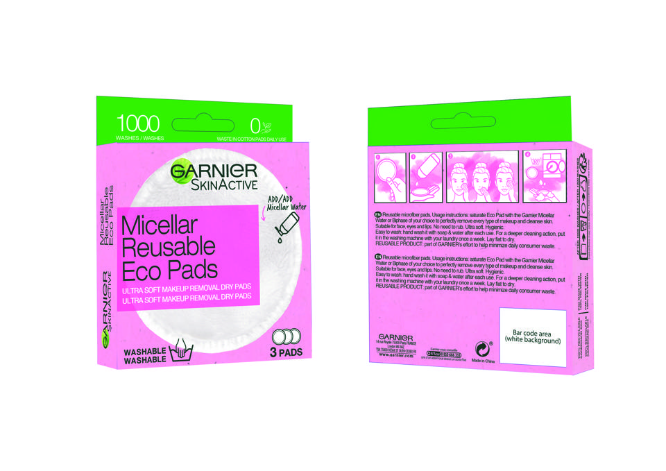 Garnier SkinActive Micellar Reusable Eco Pads can be used 1,000 times.