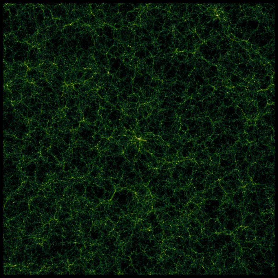 This image shows a slice of the matter distribution in the Universe.