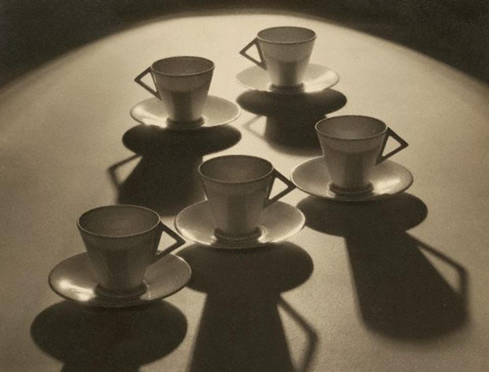 black and white photo of tea cups