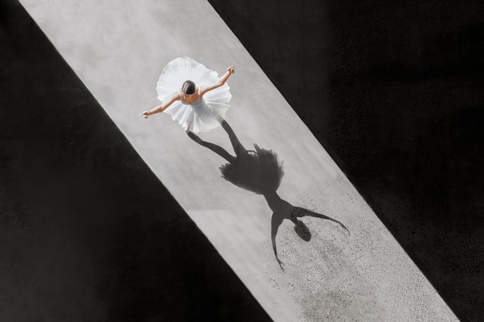 aerial photograph of ballet dancer