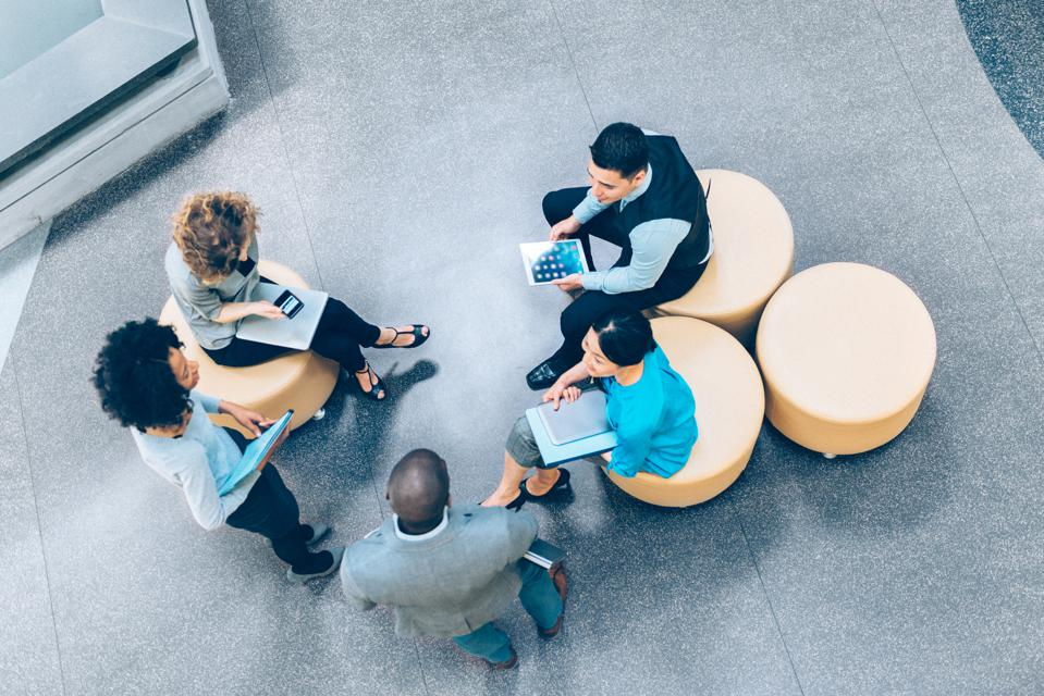 Overhead view of business people in a meeting