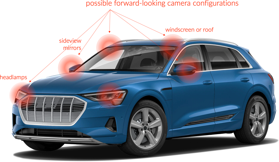 Long baseline stereo vision camera placement options on a car.