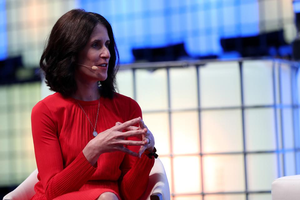 IBM's SVP and CMO Michelle Peluso speaks during the Web Summit 2018 in Lisbon, Portugal.