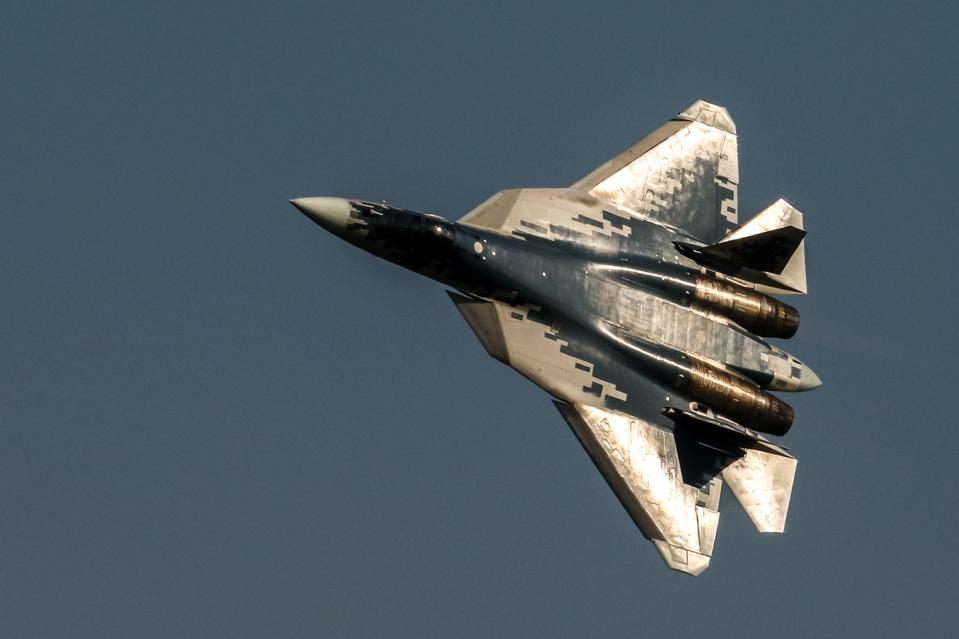 The Sukhoi Su-57 jet fighter performs its flight display at...