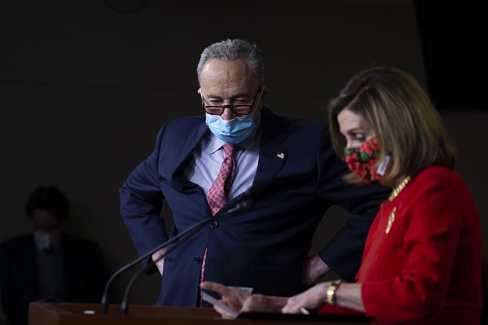 Pelosi And Schumer Speak To Press On COVID-19 Stimulus And Omnibus Spending Bills