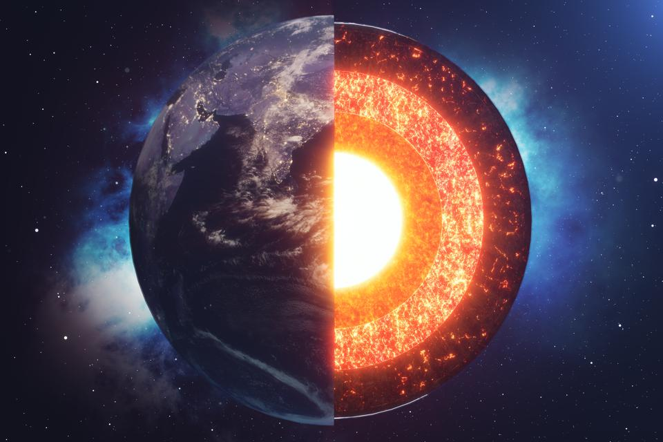 Structure core Earth. Structure layers of the earth.