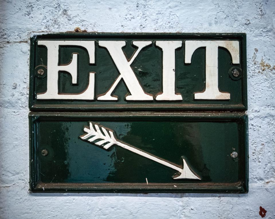 Exit sign with arrow