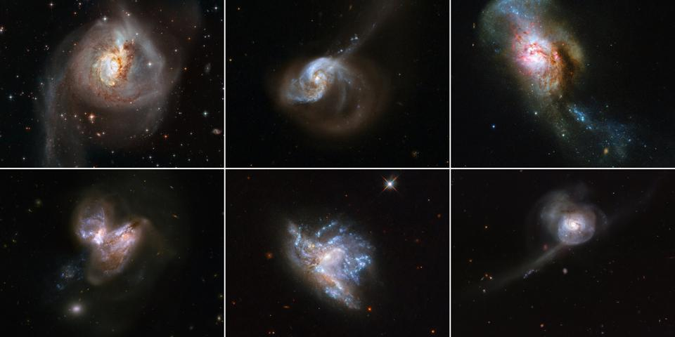 To celebrate a new year, the NASA/ESA Space Telescope has published a montage of six beautiful galaxy mergers.
