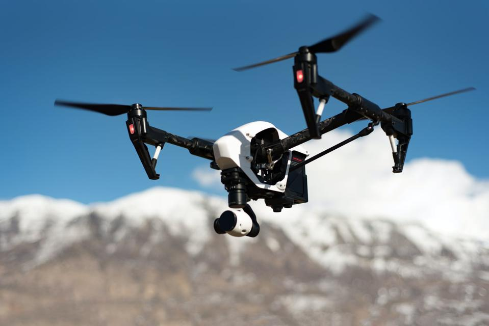 A drone flying in the mountains. This one does not have Intel's neuromorphic Loihi chip.