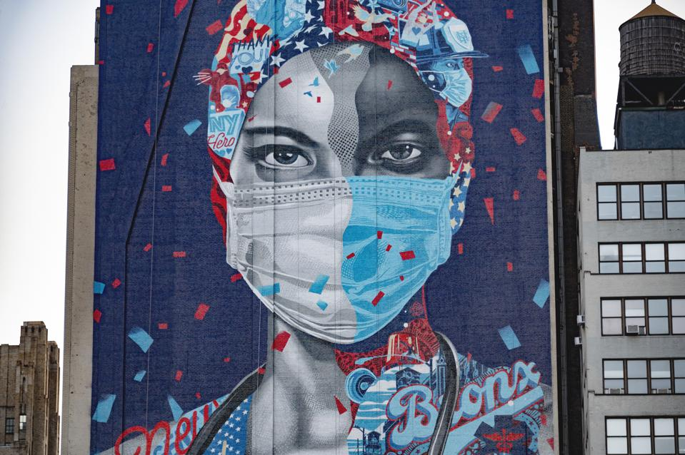 A mural to celebrate New York's nurses during the Covid-19 pandemic in New York City.