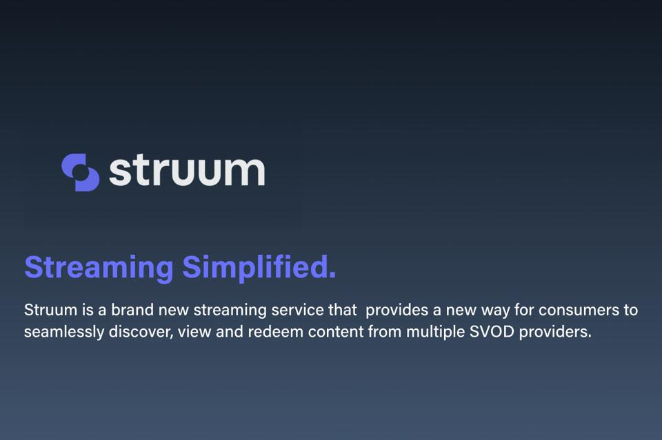 The Struum logo appears on a field of dark gray, above a ″Streaming Simplified″ heading.