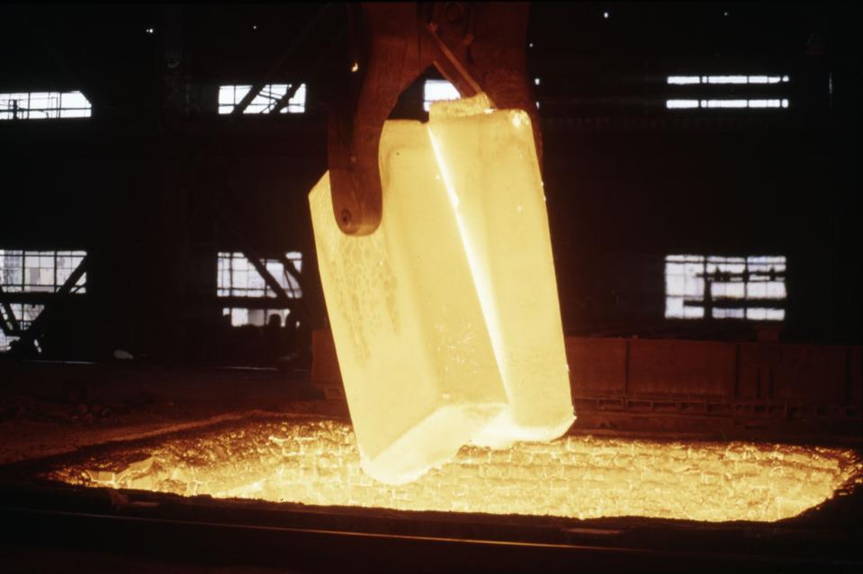 Steel ingot  at Anshan Iron & Steel Works China.