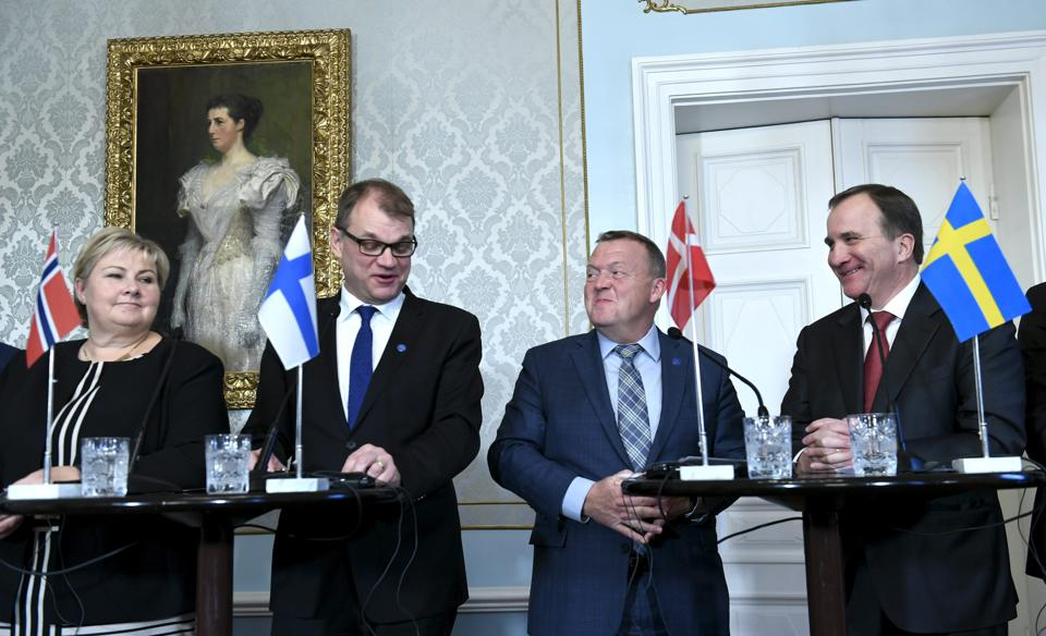 Prime ministers of four Nordic countries meet in 2017.