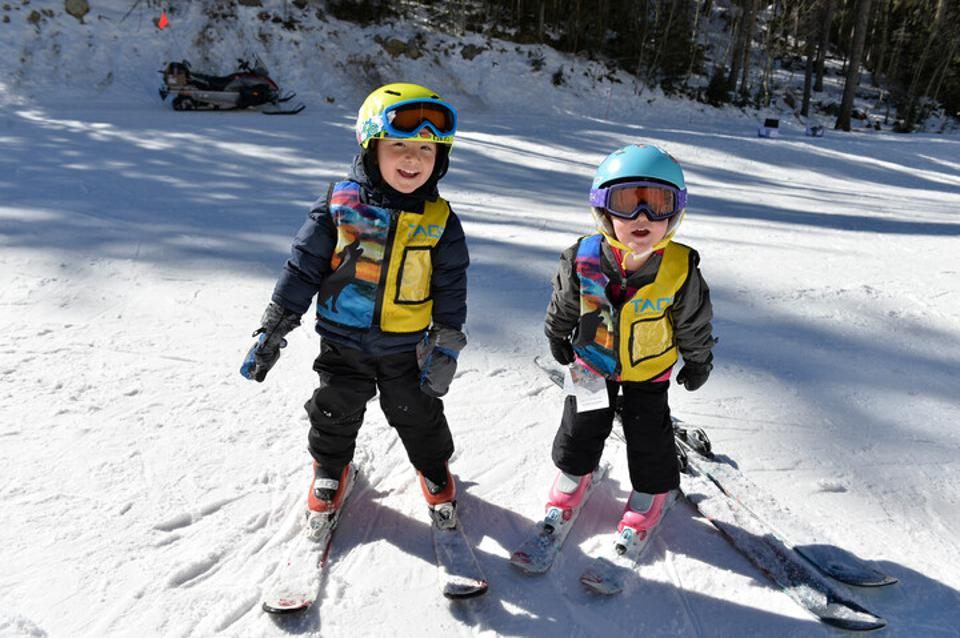 Two little ones learning to ski at Ski Taos.