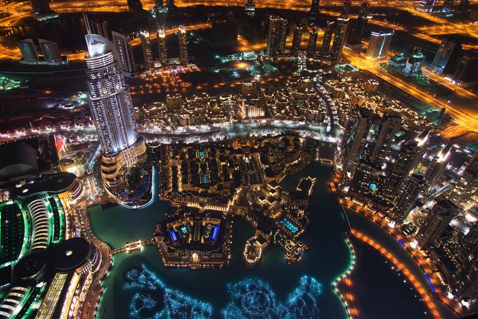 Night Aerial View of Downtown Dubai