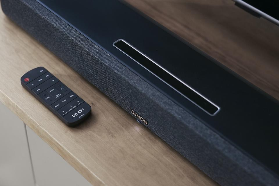 Close up of Denon Sound Bar 550 with remote