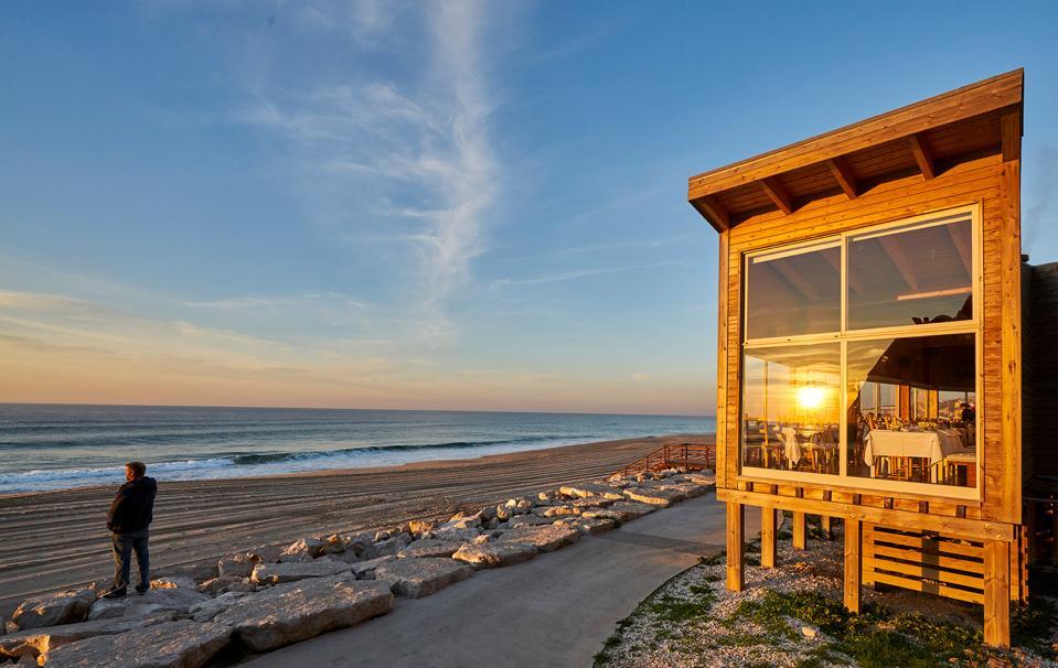 Bar do Fundo restaurant near Lisbon Portugal has a great location right on the beach