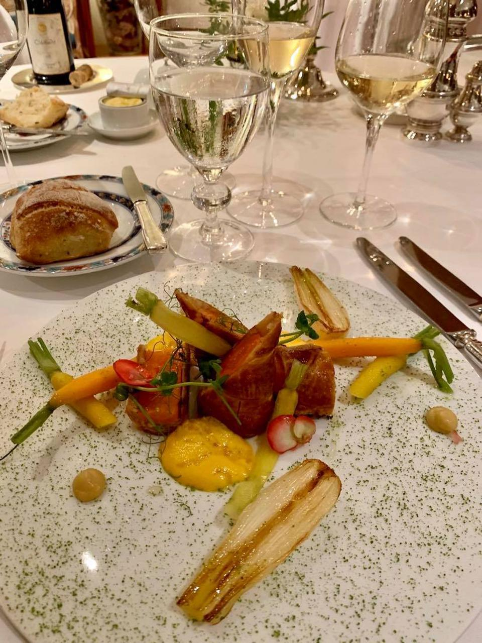 Carrots get the star treatment in a dish at Les Hauts de Loire hotel in the Loire Valley