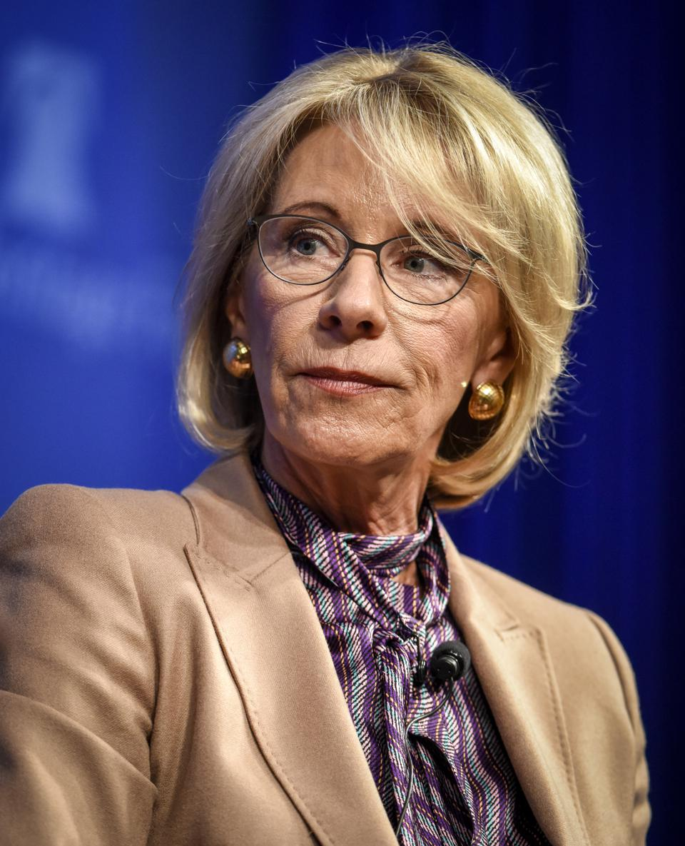 Secretary of Education Betsy DeVos speaks to an audience at the Heritage Foundation, in Washington, DC.