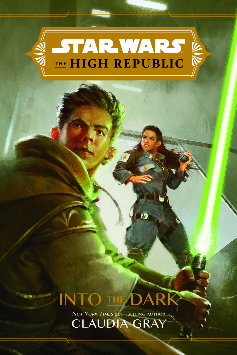 Book cover with one boy holding a lightsaber and one girl in the background.