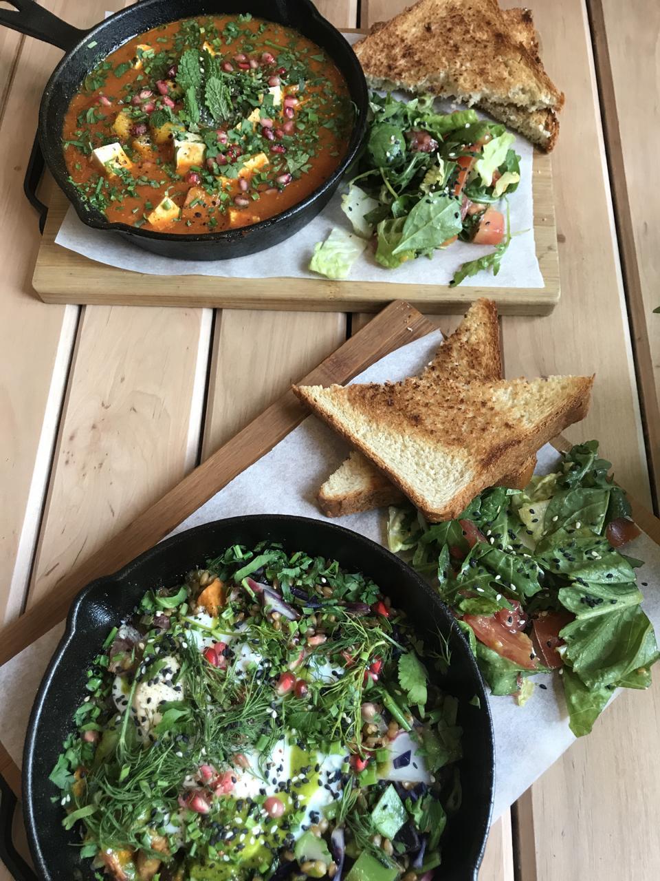 Laka Happy Bar restaurant in Gdansk Poland serves shakshuka, vegetable hash for breakfast